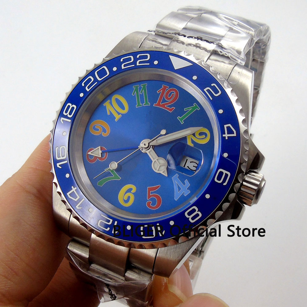 Sapphire Crystal BLIGER 40mm Blue Sterile Dial Blue Ceramic Bezel Luminous Marks GMT Function Automatic Movement Men's Watch B53 solid bliger 40mm white sterile dial blue ceramic bezel gmt function luminous hand date clcok automatic movement men s watch b51
