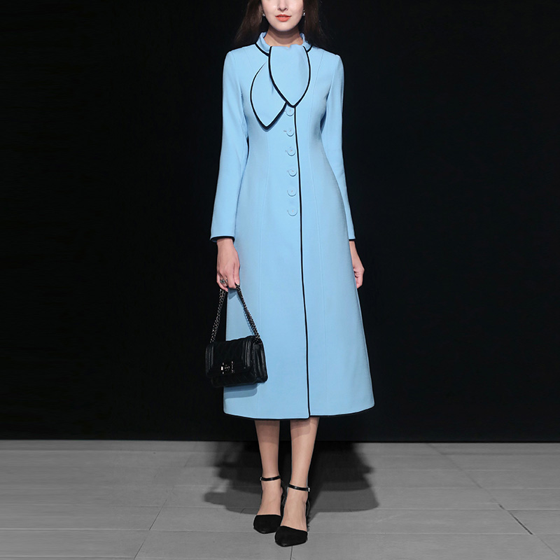 2018 Women Outwear Coat Autumn Winter Fashion New Style European And American Temperament Elegant Personality Blue Long   Trench