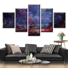 HD Print 5 Piece Fantasy Canvas Art Poster Landscape Cartoon Paintings On Wall For Home Decorations Decor Framework
