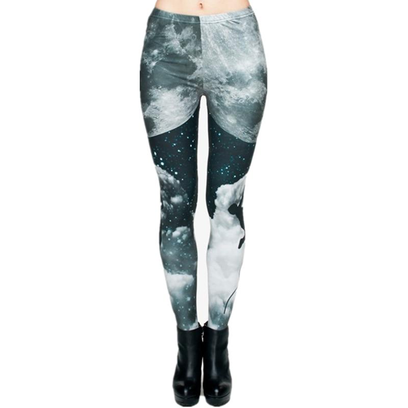 Brand Night Moon 3D Printing Our World Legging Punk Women Legins Stretchy Trousers Casual Pants Leggings