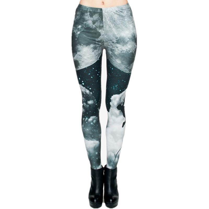 Brand Night Moon 3D Printing Our world Legging Punk Women Legins Stretchy Trousers Casual Pants Leggings