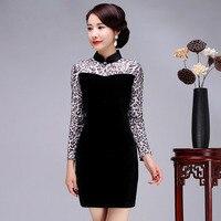 Czarny Łączone Kobiety Chiński Etniczne Sukienka Szczupła Wiosna Nowy Leopard Mini Cheongsam Sexy Aksamitna Krótkie Qipao Plus Rozmiar 3XL 4XL
