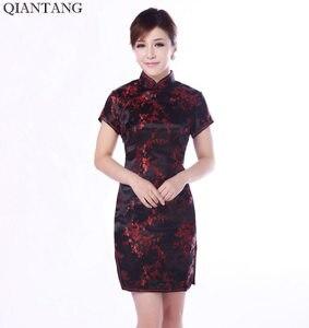 Image 4 - שחור סינית מסורתית שמלת Mujer Vestido נשים של סאטן Qipao מיני Cheongsam פרח גודל S M L XL XXL XXXL 4XL 5XL 6XL J4039