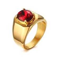 Suohuan Nueva Joyería De Moda masculina de Los Hombres Súper Rojo piedra de Titanio hombres Del Anillo de Bodas de Acero con 18 k chapado en oro joyería