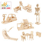Free shipping Kids Classic Furniture 3D Wooden puzzle wood house puzzle toy, toys for children Learning & Education puzzles Toy