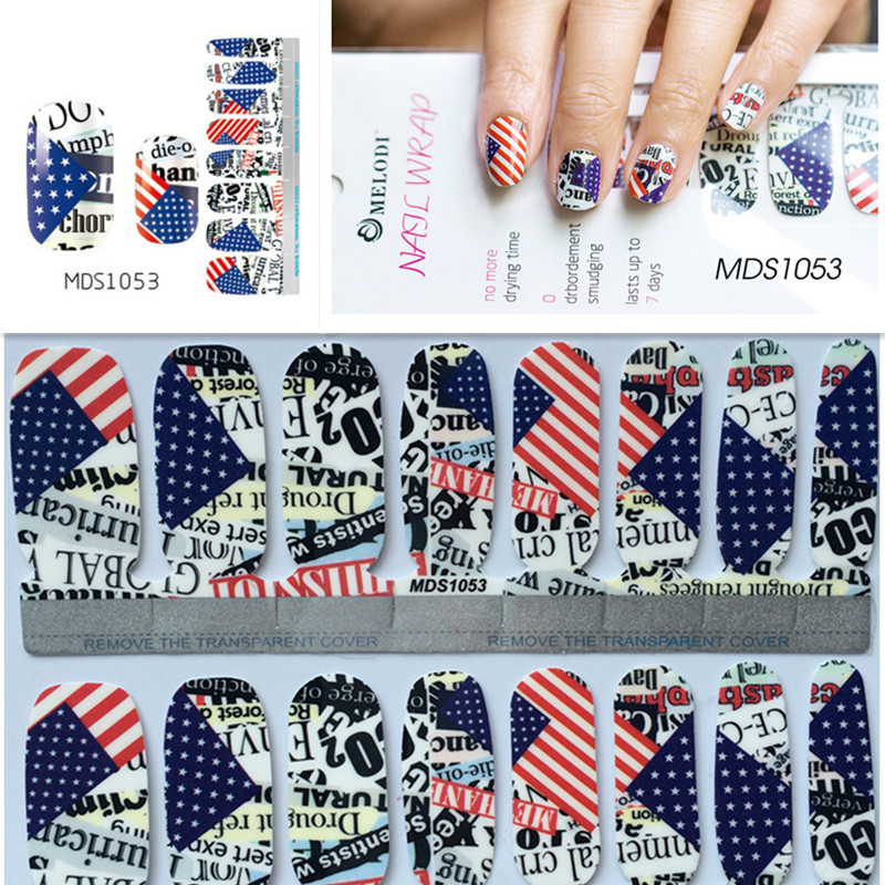 Independence Day American USA Flag Nail Wraps DIY Tips Dekaler Full Nail Art Sticker