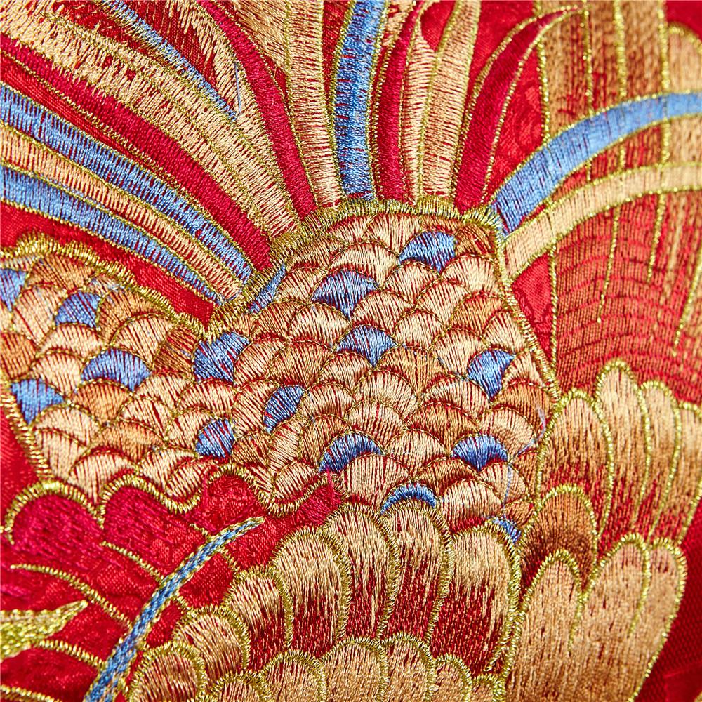 230 66 Ensemble De Literie Rouge De Mariage Chinois Literie Asiatique Avec Dragon Et Phoenix Oiseau Broderie Housse De Couette Ensembles 6 Pièces