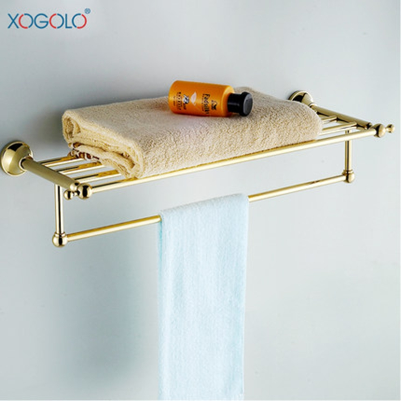 Xogolo Solid Copper Double Layer Gold Color Bath Towel Hangers With Towel Bars New Arrival Romantic Bathroom Towel Rack xogolo solid copper bathroom bath towel shelf lavatory rack holder double layer towel bar accessories 8766 polished chrome