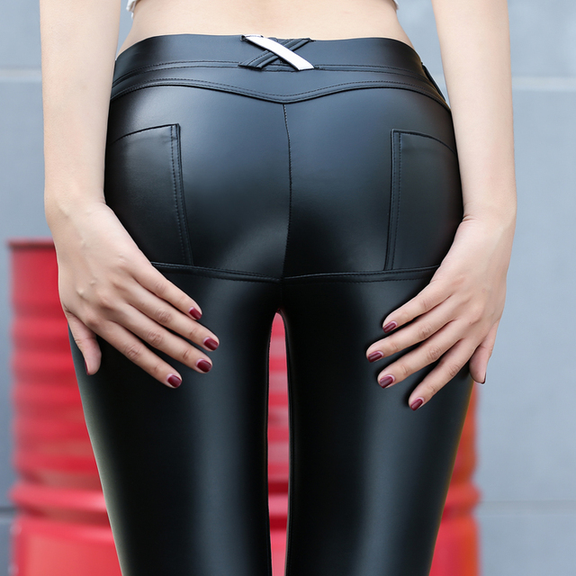 Faux Pu Leather For Fitness Leggins Butt Lifter Low Waist Leggings Push Up Casual Gothic Women Sexy Pants Jeggings Leggings