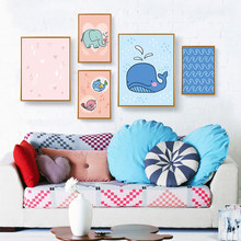 Kids Canvas Cartoon Poster Elephant Bird Whale Print Wall Art Nordic Nursery Animal Wall Picture For Baby Living Room Decoration yung mom s24