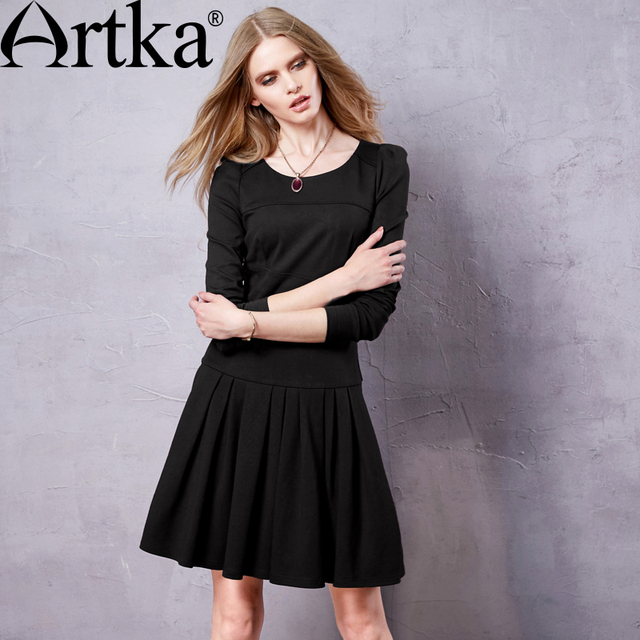 ARTKA 2018 Autumn Women s Dress Black Elegant Dress For Women Retro Vintage  Dress Female Self Portrait Dress Vestidos ZA10155Q ca25e154dc