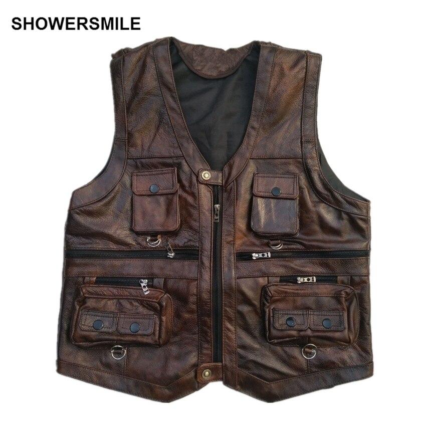 SHOWERSMILE коричневый жилет мужской кожаный жилет из натуральной кожи мотоциклетный жилет с множеством карманов фотографии жилет без рукавов к...