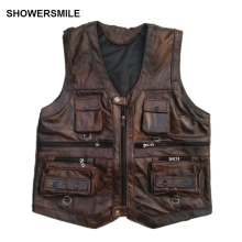 SHOWERSMILE Brown Vest Mens Leather Waistcoat Real Motorcycle With Many Pockets Photography Sleeveless Jacket