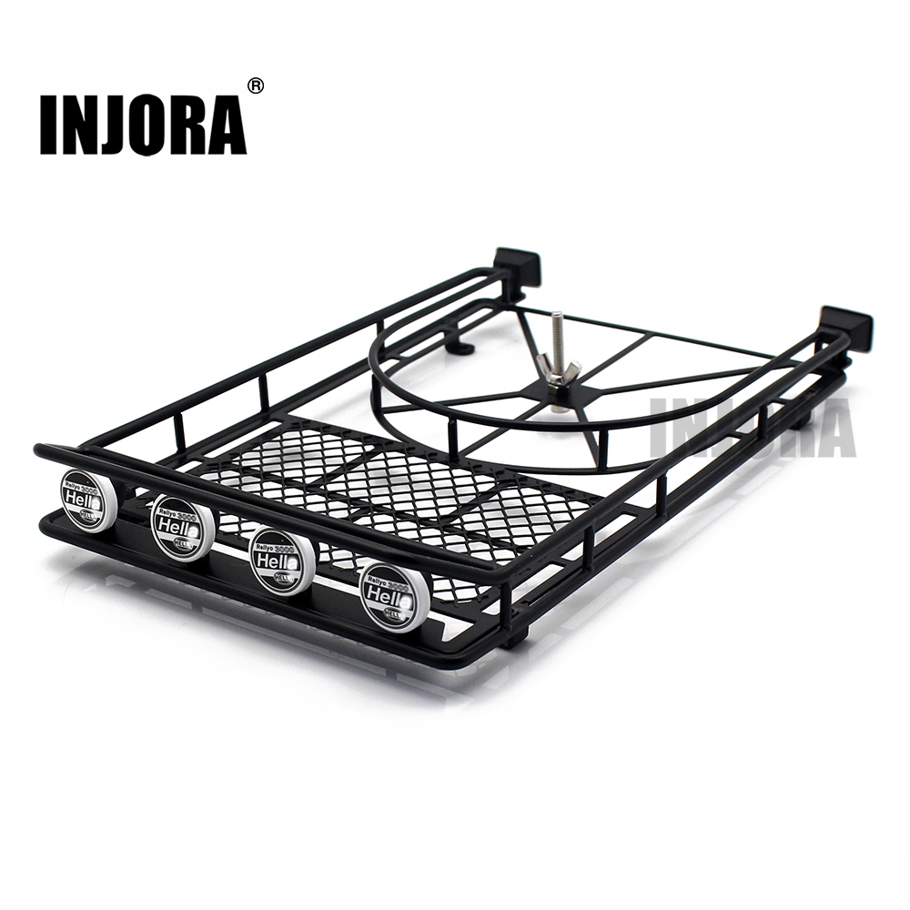 INJORA Metal Roof Rack Luggage Carrier With LED Light For 1/10 RC Crawler D90 Axial SCX10 SCX10 II 90046