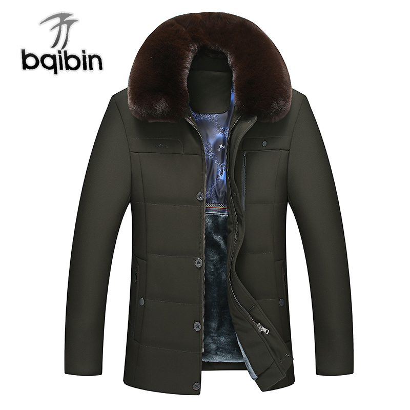 2018 New Winter Thick Warm Fur Liner Male Jacket Men Parka Faux Fur Lapel Casual Wadded Outerwear Fashion Padded Quilted Coat