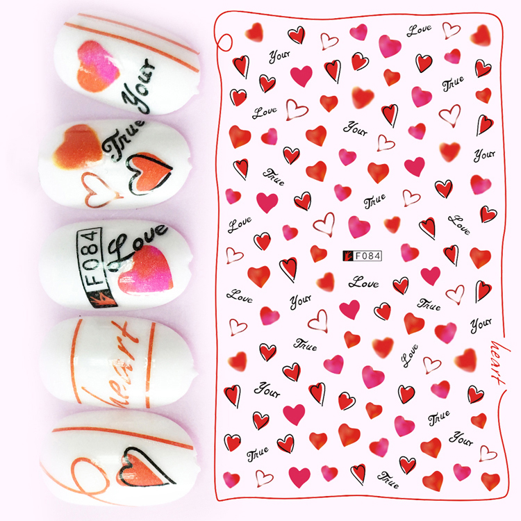 1pcs 3D Super Thin Nail Stickers Tips Nail Art Adhesive Decals Manicure Decoration Water Colour Hearts Love Valentine Wraps F084 24 styles french manicure diy 3d nail art tips guides stickers stencil strip nail hollow stickers nail art