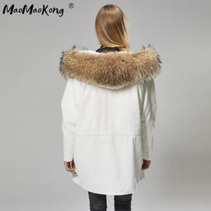 Image 2 - MaoMaoKong Long Corduroy winter faux fur lining jacket coat Women parka fur coat Corduroy real raccoon fur collar warm parkas