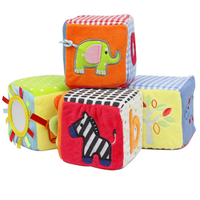 4pcs/set Baby Toys Plush Cloth Building Blocks Rattles Soft Play Cubes  Colorful Early Educational Good Looking