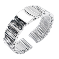 20mm 22mm 24mm Men Silver Folding Clasp with Safety Bracelet Stainless Steel Shark Mesh Replacement Watch Band Strap Luxury New
