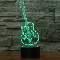 3D Led Fashion Touch Button Visual Artistic Guitar Shape Table Lamp 7 Colors Changing Night Light