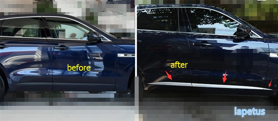 New Style For Jaguar F-Pace 2017 ABS Car Exterior Door Side Body Molding Protective Plate Sticker Lid Cover Cap Trim 6 Piece