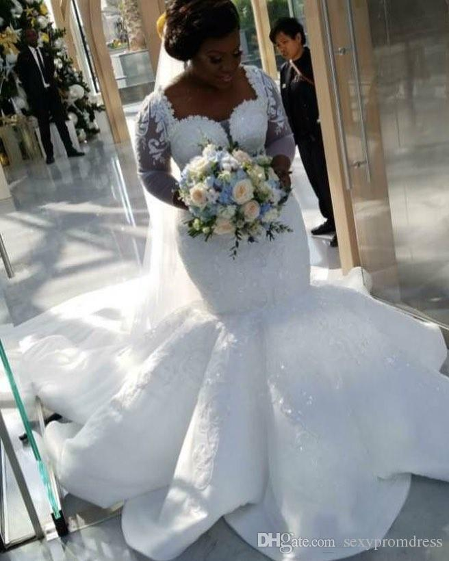 South African Mermaid Wedding Dresses Lace Appliques Plus Size Sheer Long Sleeves Bridal Gowns Satin Sweep Train Wedding Vestido-in Wedding Dresses ...