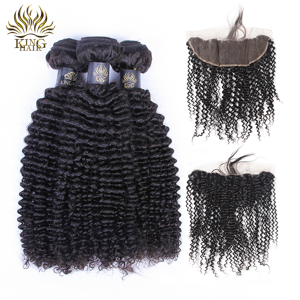 Lace Closure With Bundles Lace Frontal Human Hair Bundles With Closure Kinky Curly Hair Peruvian 3 Bundles King Remy Hair 4pcs