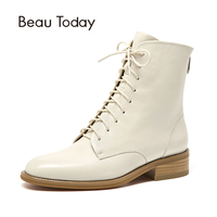 BeauToday Martin Boots Women Cowhide Genuine Leather Round Toe Lace Up Zip Ankle Length Fashion Lady Shoes Handmade 02202