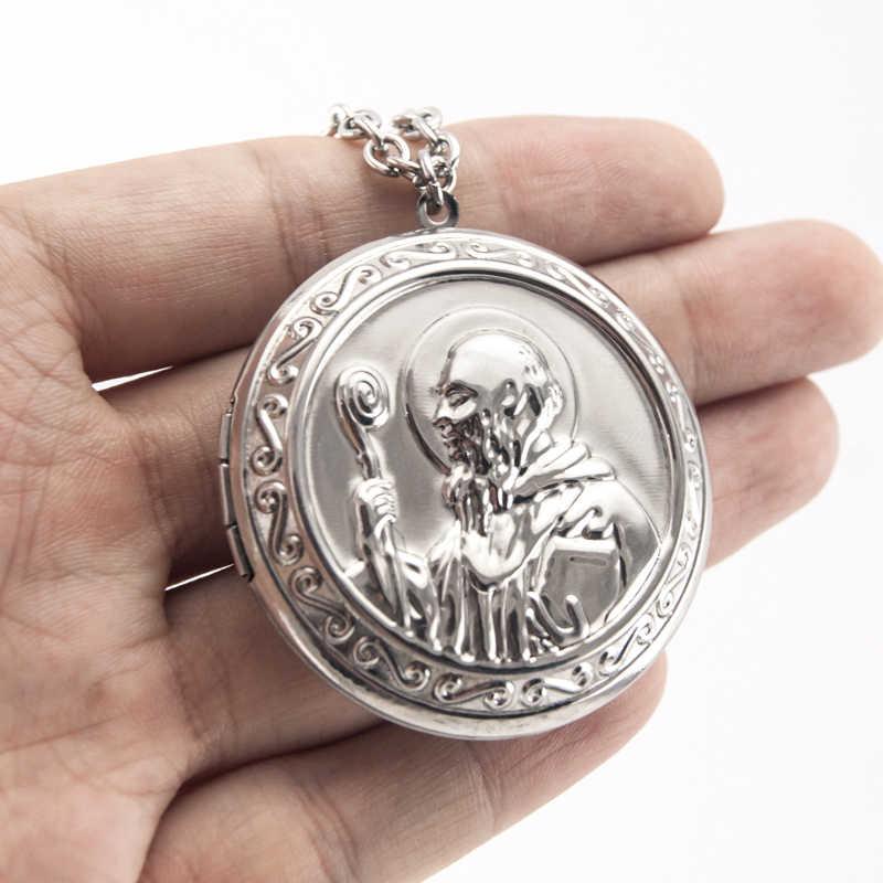 Ojciec naszyjnik Medal świętego benedykta medaliony ze stali nierdzewnej mężczyzn 44mm duży wisiorek – biżuteria naszyjniki prezent bożonarodzeniowy