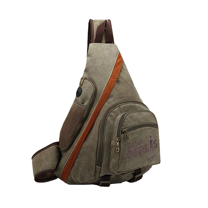 New Men Canvas Vintage Travel High Capacity Cross Body Messenger Shoulder Back pack Triangle Sling Chest Bag