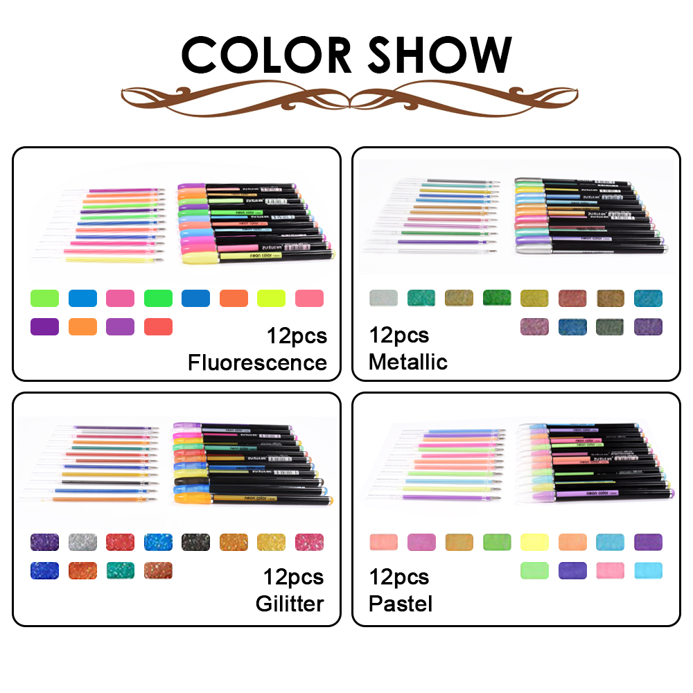 48 түсті жиынтық түрлі-түсті гель - Қаламдар, қарындаштар және жазба құралдары - фото 5