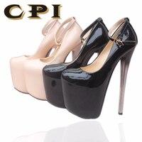CPI Sexy Round Toe super High Heels Shoes Woman Wedding Party Shoes BIG 42. Ladies Thin Heels Pumps Platform 16 19 22 CM NY 01