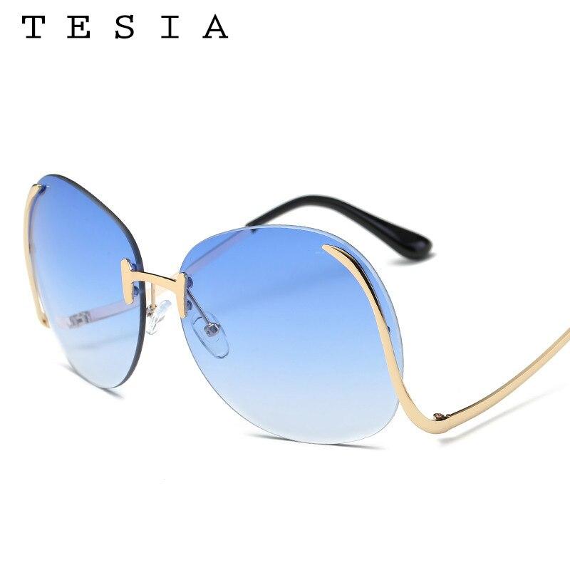 2017 TESIA Kacamata Fashion Wanita Oversize Sunglasses Mental Bingkai - Aksesori pakaian - Foto 3