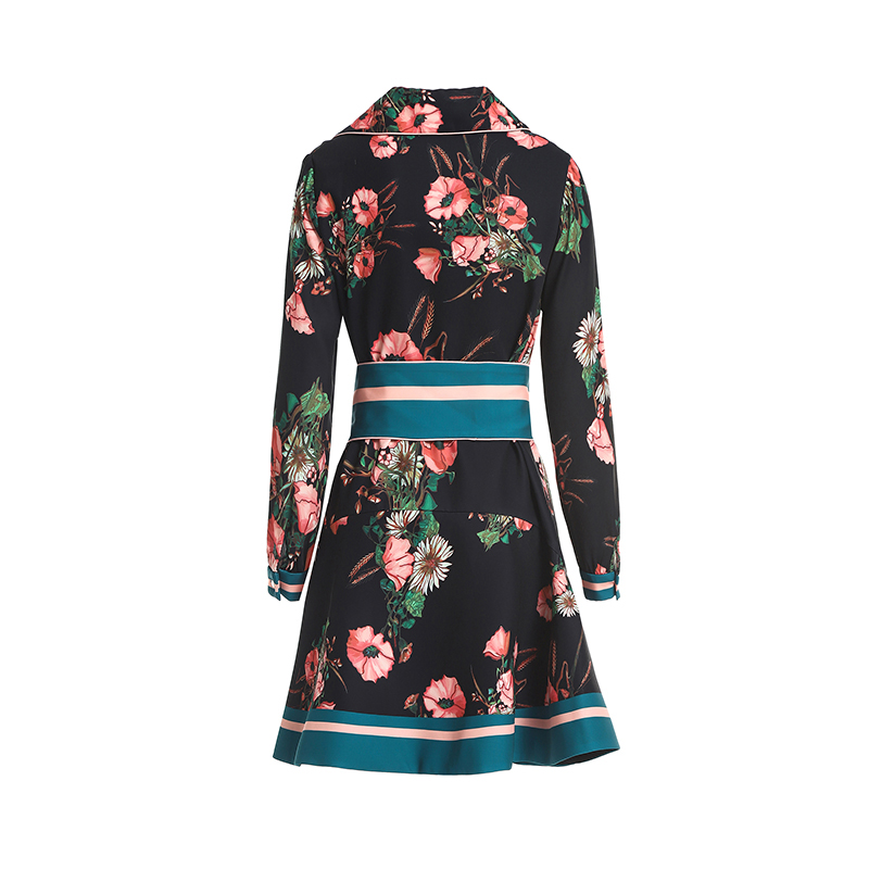 2018 Femmes Robes À Manches Mini Impression Piste Seifrmann Hiver De Fleurs Longues Robe Casual Parti Ceinture Cru PkXuZiTO