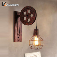 Loft retro lamp creative lifting pulley wall light Kitchen Bedroom Living Room restaurant wood Wall Lamp Bra wall Sconce
