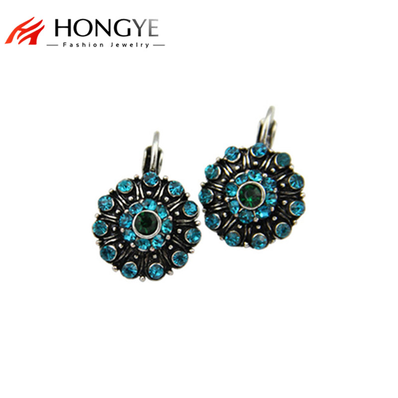 Högkvalitativ New Style Green Vintage Women Crystal Rhinestone Charms Etnisk Etikett Round Drop Earrings Smycken För Gåva