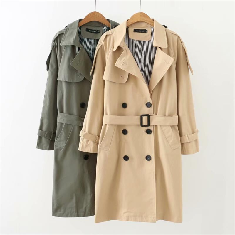 Plus size turn-down collar cotton women   Trench   2018 office lady double breasted Adjustable Waist green & Beige long coat female