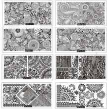 цена на 8PCS/Lot Lace Gearwheel Flower Pattern Nail Stamping Plates Set SPV11-18 Nail Art Image Stamp Plates 3D Manicure Set Template
