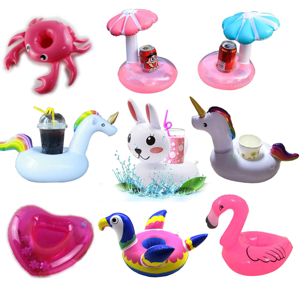 YUYU Mini Inflatable Cup Holder Unicorn Flamingo Drink Pool Float PVC Swimming Bathing Kids Toy Party Decoration
