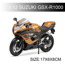 Maisto Suzuki GSX-R1000  GSXR motorcycle model 1:12 scale Motorcycle Diecast Metal Bike Miniature Race Toy For Gift Collection license plate holder for suzuki gsxs 750 gsx s 750 gsx s 1000 gsxs 1000f motorcycle accessories tail tidy fender bracket