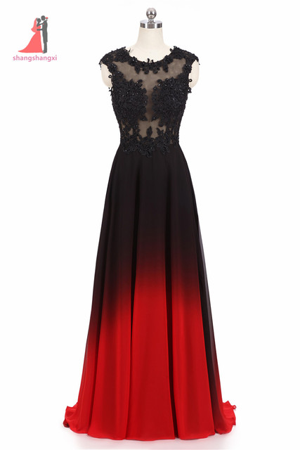 2017 New Long Evening Prom Dress O Neck Lace Appliques Top