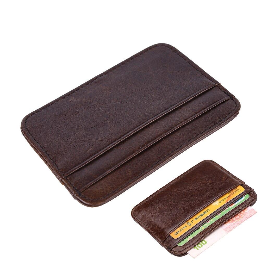 1 Stücke Assurance Mode Retro Männer Leder Kupplung Brieftasche Kredit Id Karte Schlanke Geldbörse Geld Clips Carteira Masculina