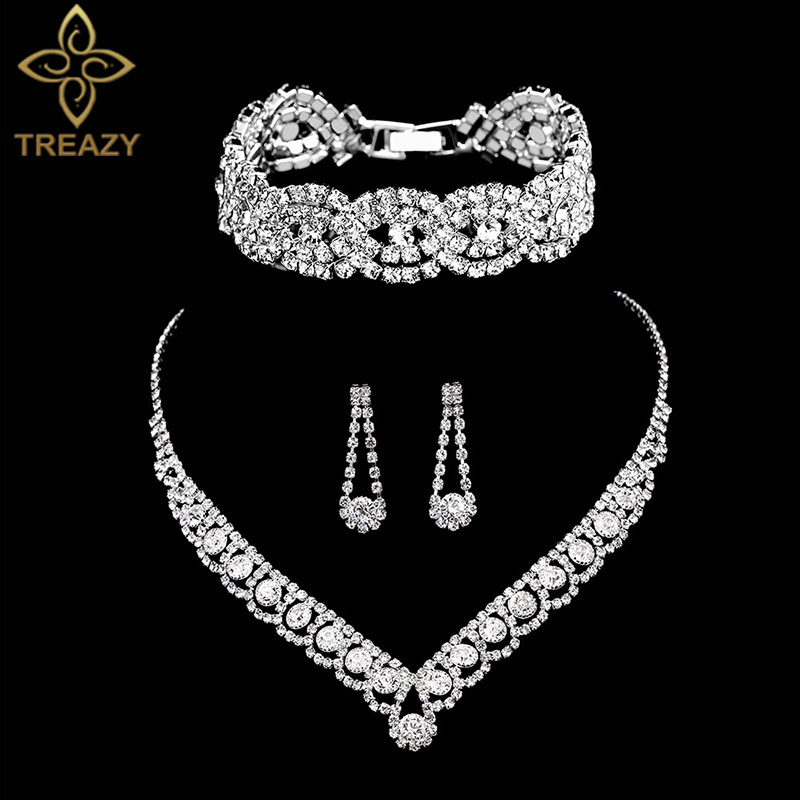 TREAZY Silver Color Rhinestone Crystal Bridal Jewelry Sets for Women Necklace Earrings Bracelet Set Wedding Jewelry Accessories(China)