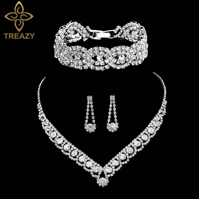 TREAZY Silver Color Rhinestone Crystal Bridal Jewelry Sets for Women Necklace Earrings Bracelet Set Wedding Jewelry Accessories