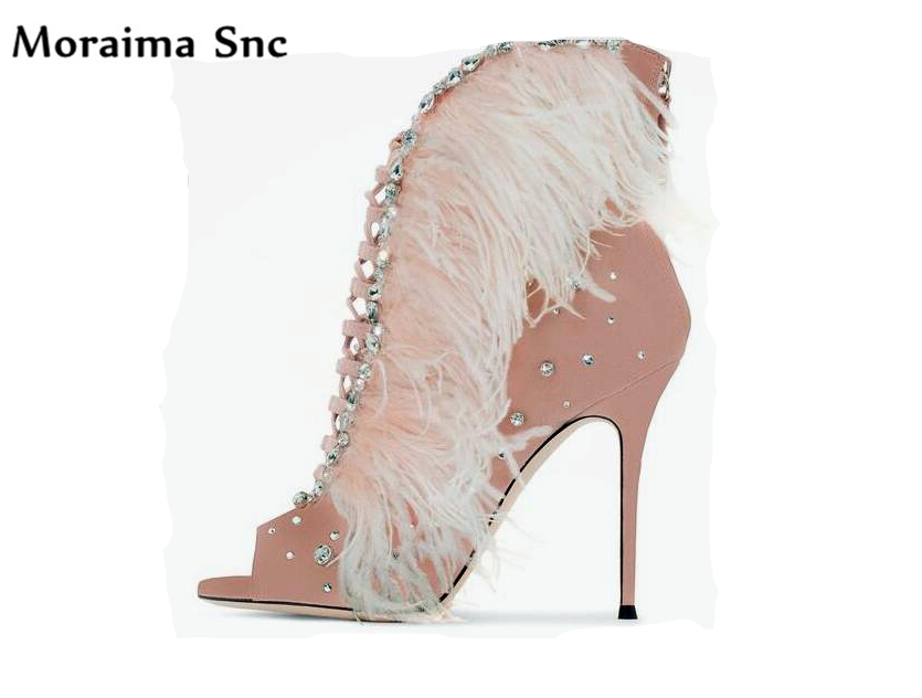 Moraima Snc 2018 hot sales chic women pumps feather crystal Decoration peep toe high heel lace-up shell shape party shoesl chic rhinestoned faux crystal fox shape brooch for women