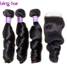 Bling Hair Brazilian Hair Weaves Loose Wave Human Hair 4*4 Lace Closure With 3 Bundles Hair Natural Black Color Free Shipping