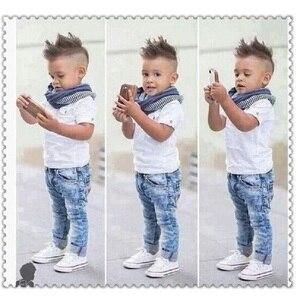 Image 4 - Moda bebê menino 3 pieces conjuntos de roupas crianças camisa + jean + cachecol terno meninos roupas crianças roupas casuais infantis calça