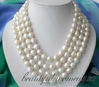 Z2828 4row 19 12mm white baroque fw pearl necklace