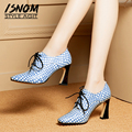 Женские туфли-лодочки из овчины ISNOM Emboss  на шнурках  с квадратным носком  на высоком каблуке  офисная обувь на весну 2019