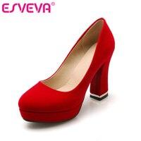 ESVEVA Red Flock Thick High Heel Slip On Platform Woman Pump Ladies Summer Round Toe Fashion
